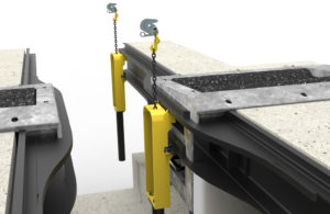 Pit wall mounted chassis load simulation - 3D illustration